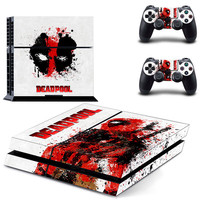 Deadpool design decal for ps4 console sticker skin