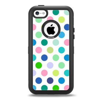 The Fun Colored Vector Polka Dots Apple iPhone 5c Otterbox Defender Case Skin Set