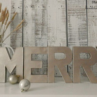 New! Cottage Chic Vintage Gold Distressed Free Standing MERRY Letters | Rustic Chic Christmas Décor | Christmas Mantel Décor