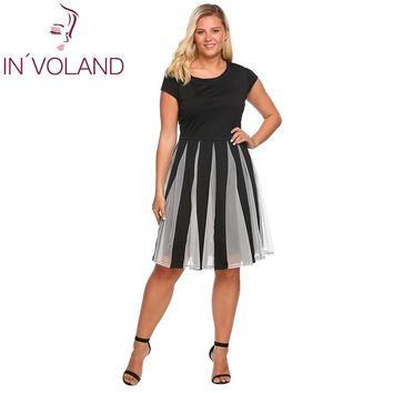 IN'VOLAND Women Dress Big Size XL-4XL Cap Sleeve Mesh Patchwork Back Button Party Pleated Swing Dresses Vestidos Robe Plus Size