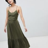 Vero Moda Tiered Satin Maxi Dress at asos.com