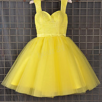 Yellow Lace Short Prom Dresses, Bridesmaid Dress,Party Dresses, Evening Dresses, Wedding Party Dresses,Cocktail Dresses,Formal Wear