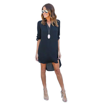 Women Dress Spring Summer Chiffon Long Sleeve Casual Dress Split Tops Blusas Sexy Shirt Dresses Plus Size Vestidos Feminino