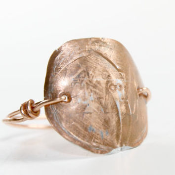 Mens & Womens  Hammered Copper Ring from a Penny