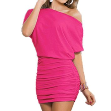 Women's Sexy Pink Off The Shoulder Bandage Ruffle Bodycon Club Dress