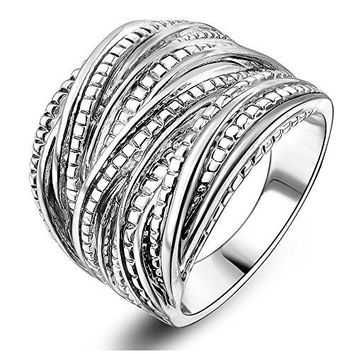 Mytys Silver Intertwined Statement Ring Band Rings for Women Men 18mm Wide Size 678910