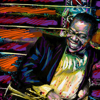 Louis Armstrong Art - Jazz Painting