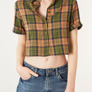 Short sleeve Crop Check Shirt - Tops - Clothing - Topshop USA
