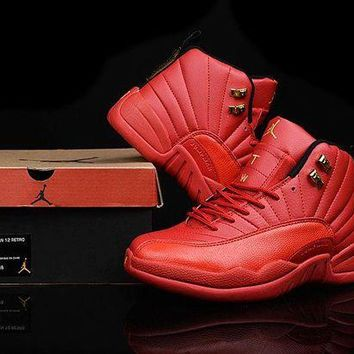 DCCKL8A Jacklish 2016 New Air Jordans 12 Custom All Red And Gold For Sale Online