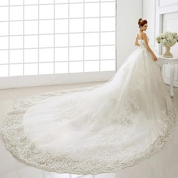 New Lace Wedding Dresses Cathedral Royal Train Straps Bridal Crystal Formal Gown US Sizes