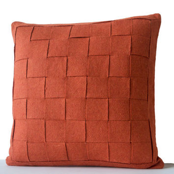 Orange Pillow - Felt Weave Pillows -Throw Pillow- Decorative Pillows- Gift- 18 inch square -Modern decor -Chair Pillow -Wool Mat pillow