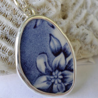 Broken China Necklace Pendant  Chaney Sterling Blue Flower Pendant  Fused Glass