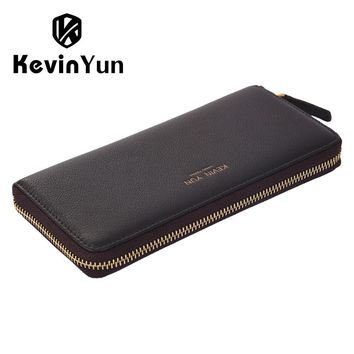 Designer Men Wallets Genuine Leather Long Zipper Purse Male Clutch Wallet