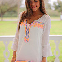 Native Peasant Top,White/Oranges