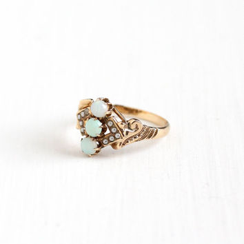 Antique 10k Rose Gold Opal & Seed Pearl Victorian Ring - Late 1890s Vintage Size 6 Triple Gemstone Fine Studded Design Jewelry