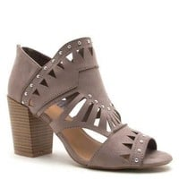 Taupe Cut Out Peep Toe Bootie