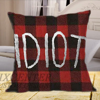 5SOS Red Idiot on Square Pillow Cover