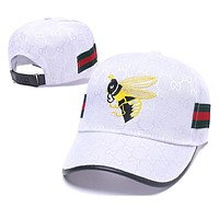 GUCCI Hot Sale Summer Fashion Bee Embroidery Sports Sun Hat Baseball Cap Hat White