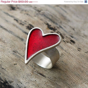 ON SALE Red heart silver ring. Sterling silver & red ring. Red heart ring. Sterling silver heart earrings with red color enamel.