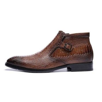 ONETOW Men Brown Crocodile Pattern Side Zipper Pointed Toe Stylish Boots bottes stiefel