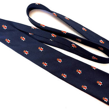Atkins Irish Poplin Tie,Hand Made Dark Blue Silk and Wool Necktie with Northern Ireland Red Hand of Ulster Loyalist Emblem, Narrow Tie
