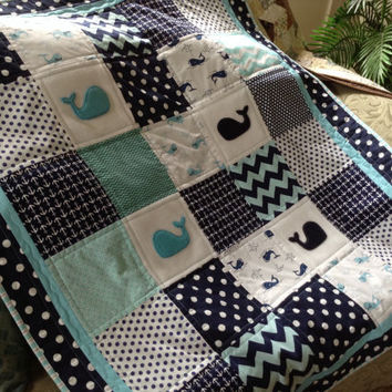 Baby Whale quilt in teal, navy and white