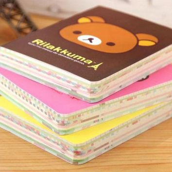 DCCKL72 1 PCS Kawaii Relaxed Bear Palm Notepad Portable Colorful Notebook Student Stationery