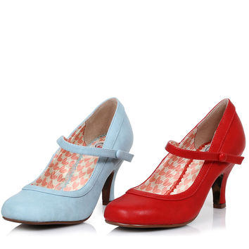 Bettie Page Retro Mary Jane Heels Red