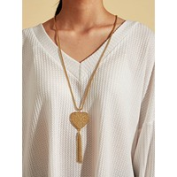 1pc Heart & Tassel Charm Necklace