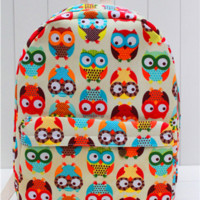 Large Owls Canvas Lightweight Backpack