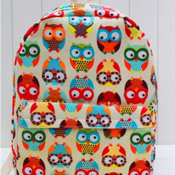 Large Owls Canvas Lightweight Casual Backpack