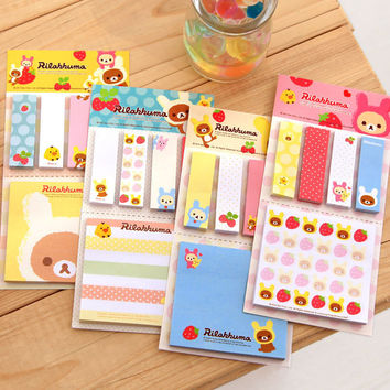 1 PCS Kawaii Cartoon Rilakkuma Memo Notepad Note Book Memo Pads Sticky Notes Memo Set Gift Stationery Office Stationery Supplies