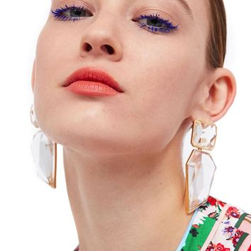 JUJIA fashion jewelry women Za crystal resin earring vintage statement bib drop Earrings for women jewelry