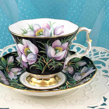 Vintage 1950's Royal Albert Tea Cup and Saucer, English Bone China Cups, Tea Set, Purple Teacups, Black, Provincial Flowers, Prairie Crocus