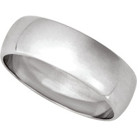 Men's 14K White Gold 7mm Traditional Plain Wedding Band (Available Ring Sizes 7-12 1/2)