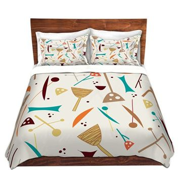 Duvet Cover Brushed Twill Twin, Queen, King SETs from DiaNoche Designs by Nika Martinez - Mid Century Hero Cream Home Décor, Bedroom and Bedding ideas