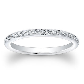 Ladies 18kt white gold eternity pave diamond wedding band 2mm wide 0.40 ctw G-VS2 quality