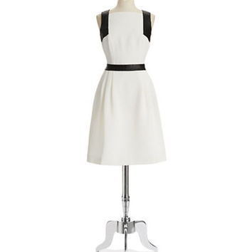 Carmen Marc Valvo Textured Dress with Leather Trim