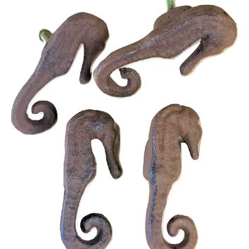 4 Cast Iron Seahorse Knobs for Cabinets and Drawers
