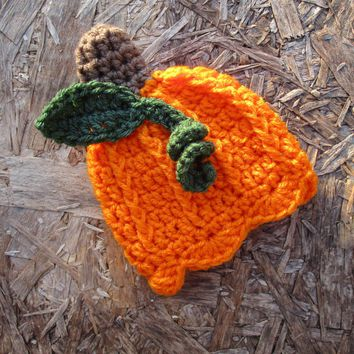 Baby Girl Pumpkin Hat Green Brown Newborn Photo Prop