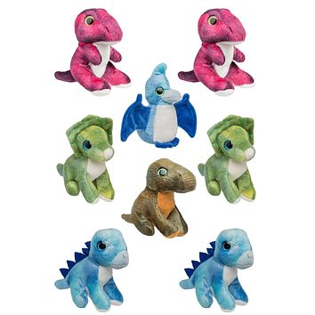 "8 Pack Dino Mini 4"" Small Stuffed Animals, Variety Zoo Animal Toys, Dinosaur Party Favors for Kids"