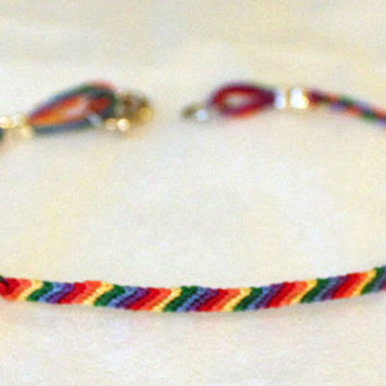 Gay Pride Rainbow LGBT Friendship Bracelet with Clasp Super slim thin
