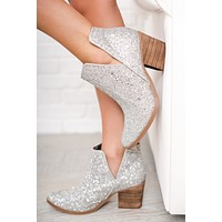 Love This City Not Rated Sparkle Booties (Silver)