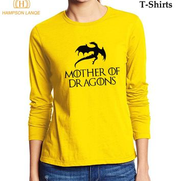 Mother Of Dragons Game Of Thrones T Shirts For Lady 2017 Autumn Brand T-Shirt 100% Cotton Women Long Sleeve T Shirt Casual Top