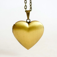 Heart Locket - Vintage Style Antiqued Brass Romantic Heart Shaped Locket Necklace - Ideal Bridesmaids Gift - LN012
