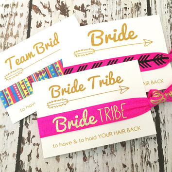 Bachelorette Party Favors Hair Ties // Bride Tribe [GoldBrideTribe] - Gift Her Bridesmaids // MOH - Survival Kit // To Have and To Hold