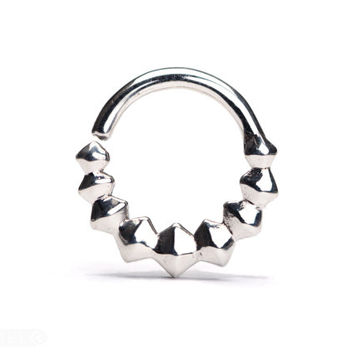 8c107db49335a Geometric Septum Ring Nose Ring Body Jewelry Sterling Silver Bohemian  Fashion Indian Style 14g 16g - SE038R SS