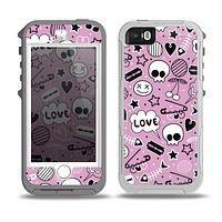 The Pink & Black Love Skulls Pattern V3 Skin for the iPhone 5-5s OtterBox Preserver WaterProof Case