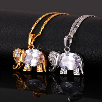 Glod Elephant Necklace Platinum/18K Gold Plated Cubic Zircon Women Fashion Jewelry Trendy Cartoon Gold Necklaces & Pendants P211