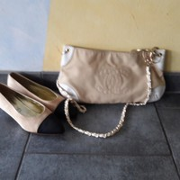chanel tasche bag chain creme crossbody leder canvas.
